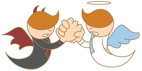 cartoon character of angel and devil arm wrestling